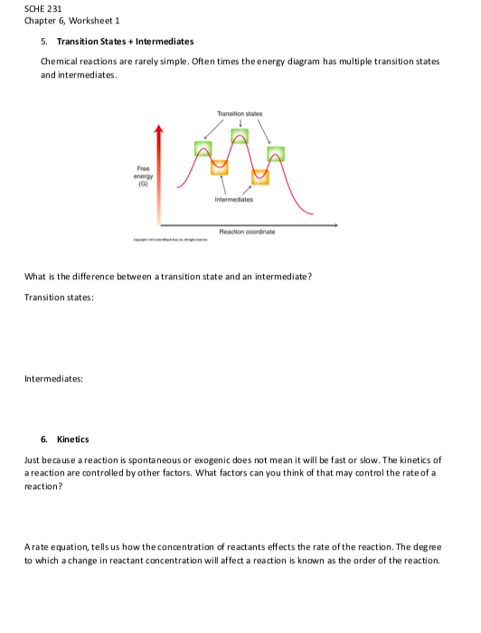Solved: SCHE 231 Chapter 6, Worksheet 1 Energy Diagrams 1 ...