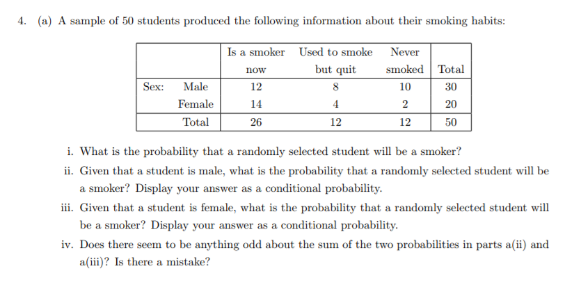 4. (a) A sample of 50 students produced the following information about their smoking habits Is a smoker now 12 14 26 Used to