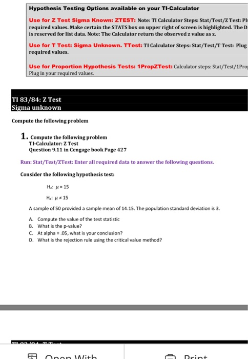 Solved: Hypothesis Testing Options Available On Your TI-Ca