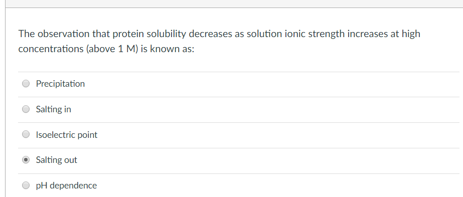 The observation that protein solubility decreases as solution ionic strength increases at high concentrations (above 1 M) is