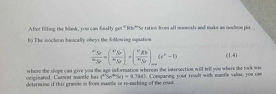 rb sr dating equation
