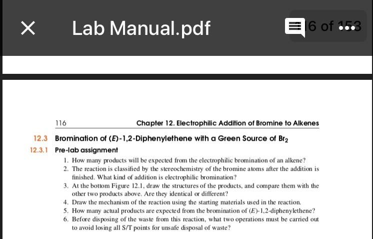 Solved: X Lab Manual pdf 6 Of 116 Chapter 12  Electrophili