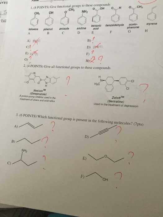 Solved: NYO 1  (8 POINTS) Give Functional Groups To These