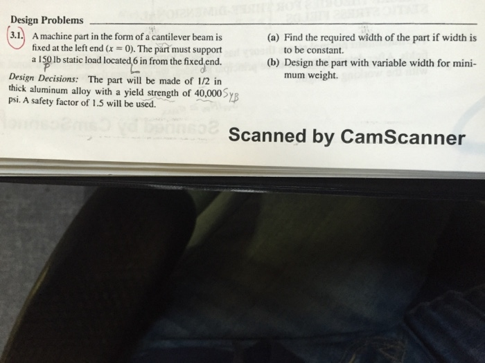 Solved: A Mac Hire Part In The Form Of A Cantilever Beam I