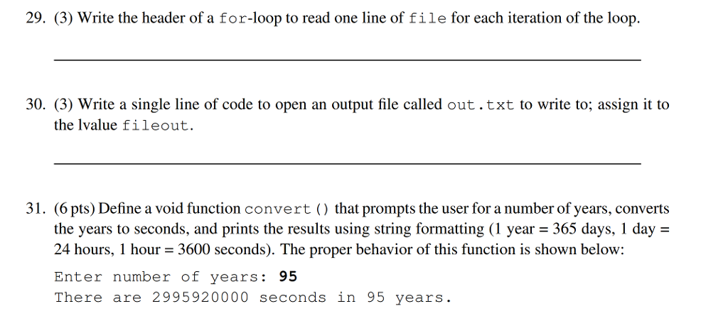 29 3 Write The Header Of A For Loop To Read One