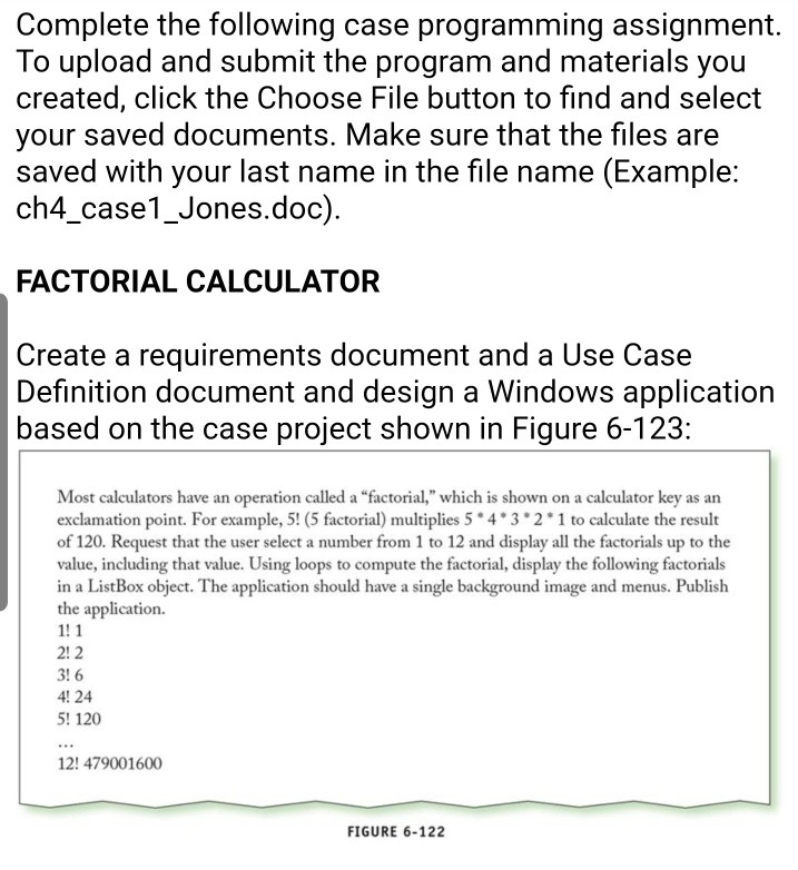 Solved: Complete The Following Case Programming Assignment