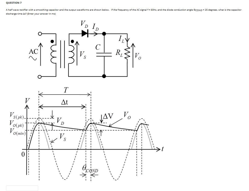 Solved A Half Wave Rectifier With Smoothing Capacitor Diagram Question 7 And The Output Waveforms Are Shown