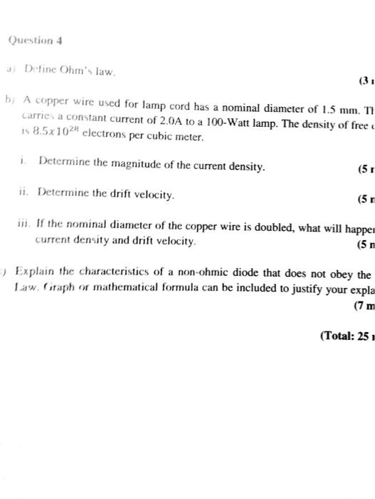 solved question 4 d fine ohm s law 3 1 b a copper wire rh chegg com