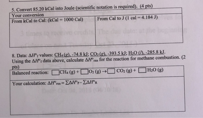 Convert 85 20 Kcal Into Joule Scientific Notation Is Required 4