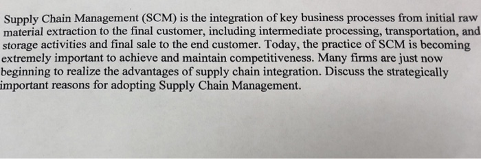 Solved: Supply Chain Management (SCM) Is The Integration O