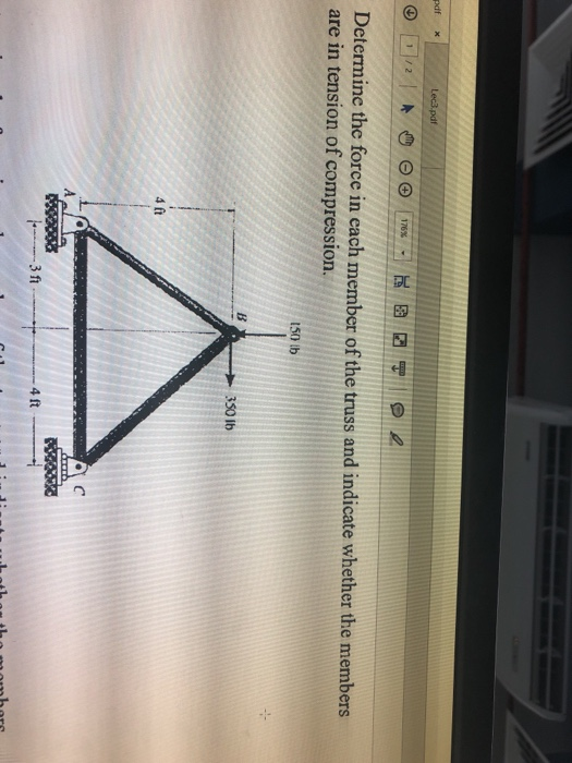 Solved: Pdf Determine The Force In Each Member Of The Trus ...