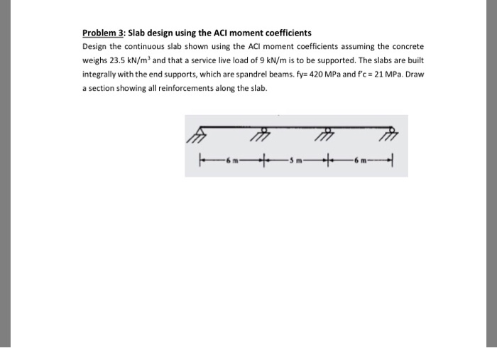 Solved: Problem 3: Slab Design Using The ACI Moment Coeffi