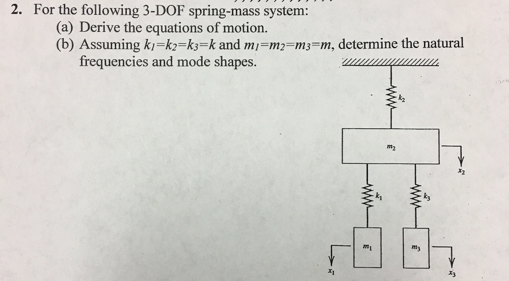 Solved: 2  For The Following 3-DOF Spring-mass System (a