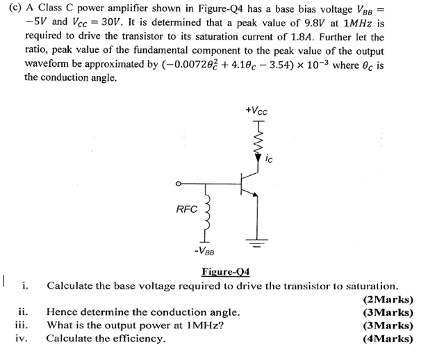 Solved: (c) A Class C Power Amplifier Shown In Figure-04 H