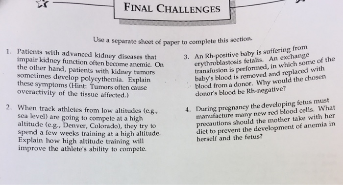 Solved: FINAL CHALLENGES Use A Separate Sheet Of Paper To