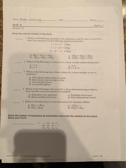 Name Fmmt Lslinings Date Score QUIZ 16 Algebra 2 S