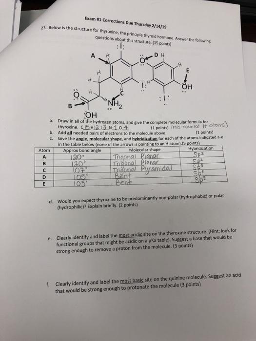 Solved Exam 1 Corrections Due Thursday 2 14 19 23 Below Chegg Com