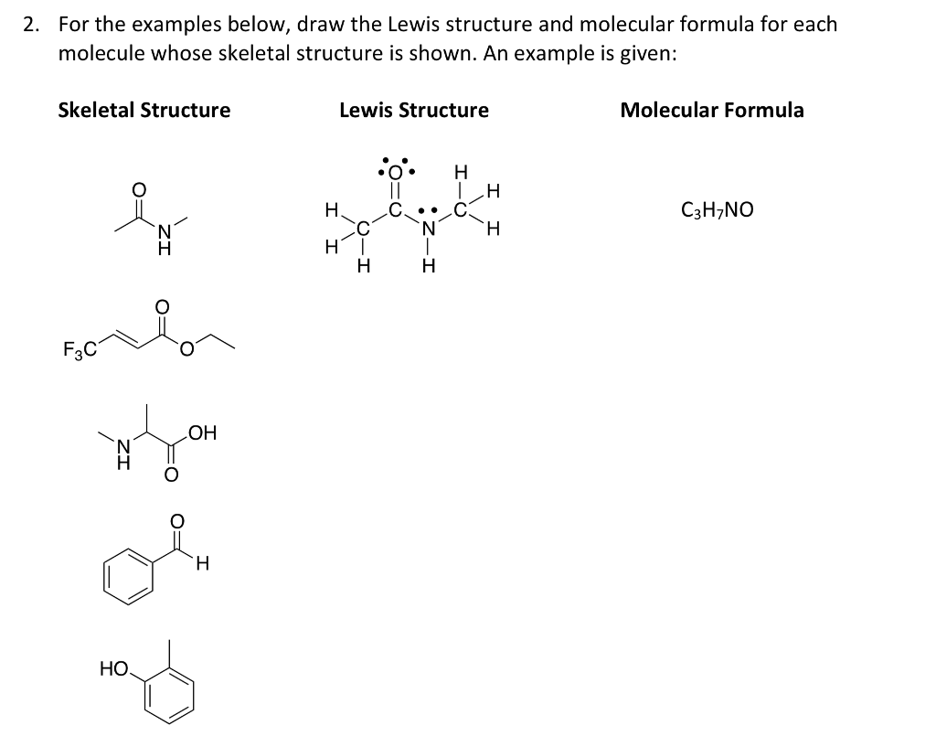 solved for the examples below draw the lewis structure a