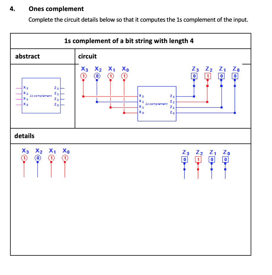 Solved: 4.Ones Complement Complete The Circuit Details Bel... | Chegg.comChegg