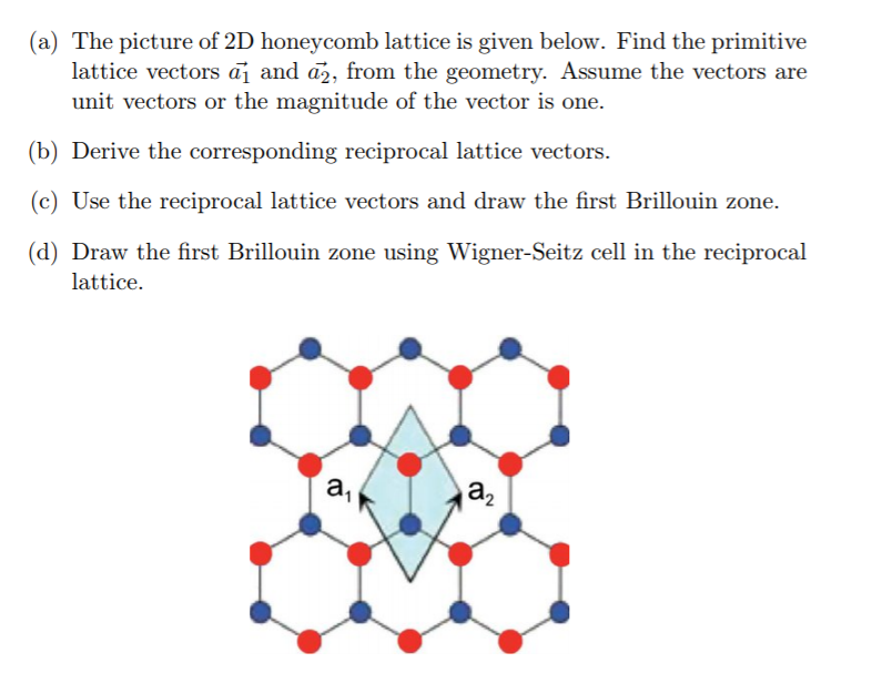 Solved: (a) The Picture Of 2D Honeycomb Lattice Is Given B