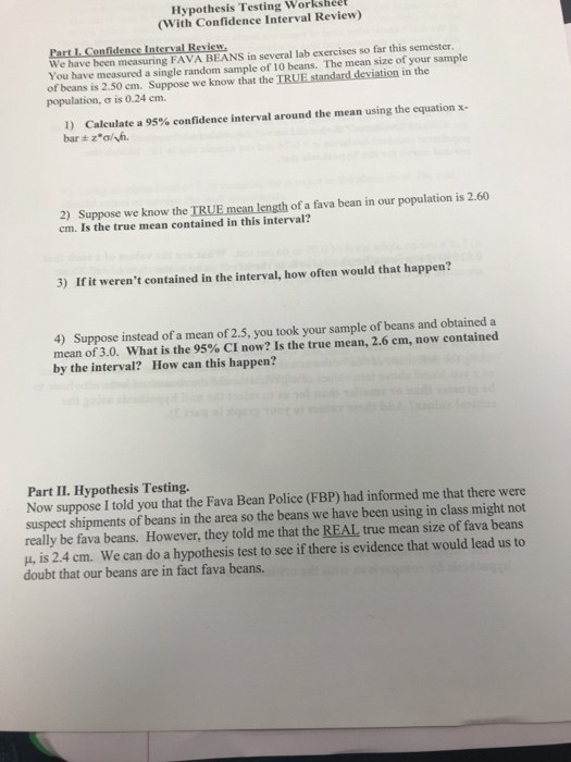 Solved Hypothesis Testing Worksheet With Confidence Inte