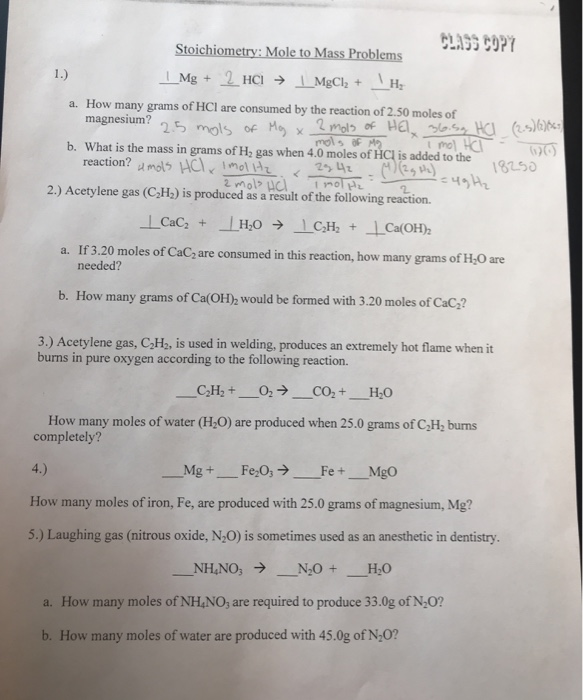 Solved: Stoichiometry: Mole To Mass Problems How Many Gram ...