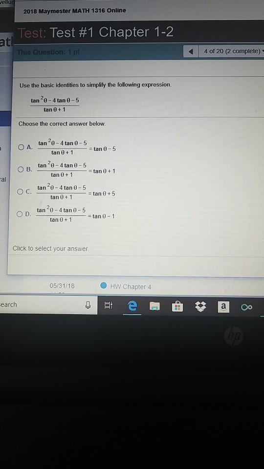Solved: Ellu 2018 Maymester MATH 1316 Online Test: Test #1 ...