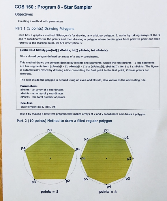 Cos 160: Program 8- Star Sampler Objectives Creati    | Chegg com