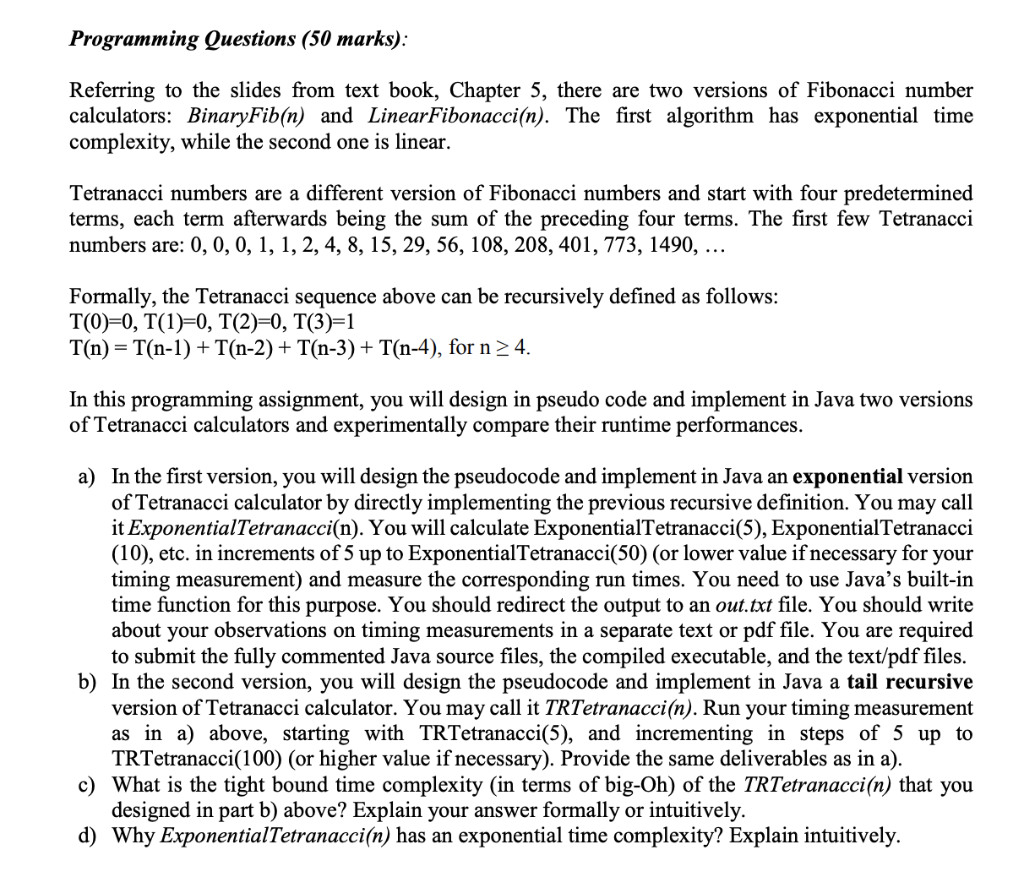 Programming Questions (50 Marks): Referring To The    | Chegg com