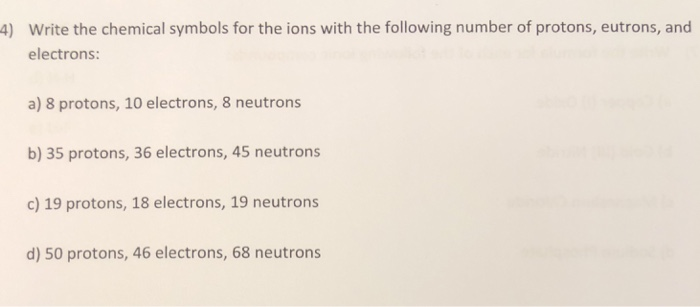 Solved: ) Write The Chemical Symbols For The Ions With The