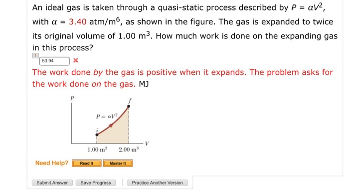 Solved: An Ideal Gas Is Taken Through A Quasi-static Proce