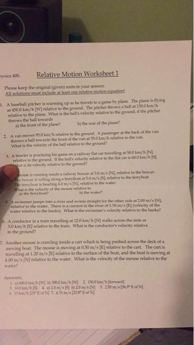 Solved: Tysics 405 Relative Motion Worksheet 1 Please Keep ...