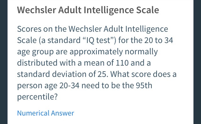Solved: Wechsler Adult Intelligence Scale Scores On The We