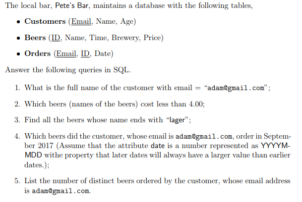 Solved: The Local Bar, Pete's Bar, Maintains A Database Wi
