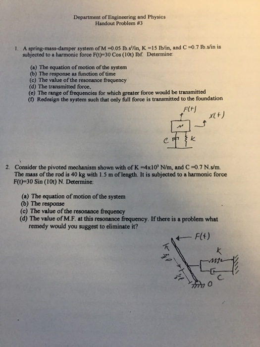 Solved: Department Of Engineering And Physics Handout Prob