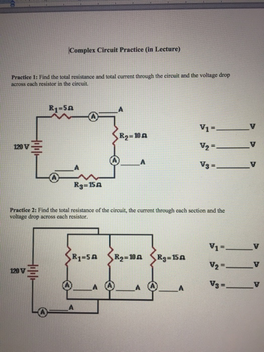 complex circuit practice (in lecture practice 1: find the total resistance  and total current