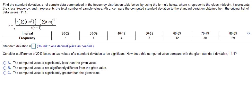 Solved Find The Standard Deviation S