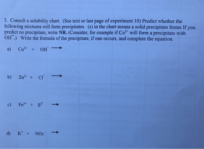 Solved  Consult A Solubility Chart See Text Or Last P