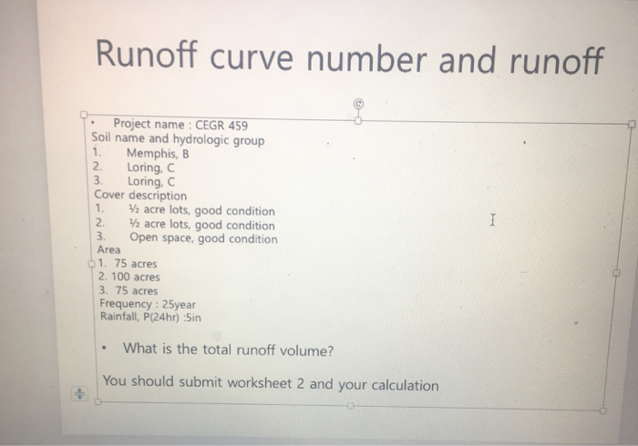 TR 55 Worksheet 2: Runoff Curve Number And Runoff ... | Chegg.com