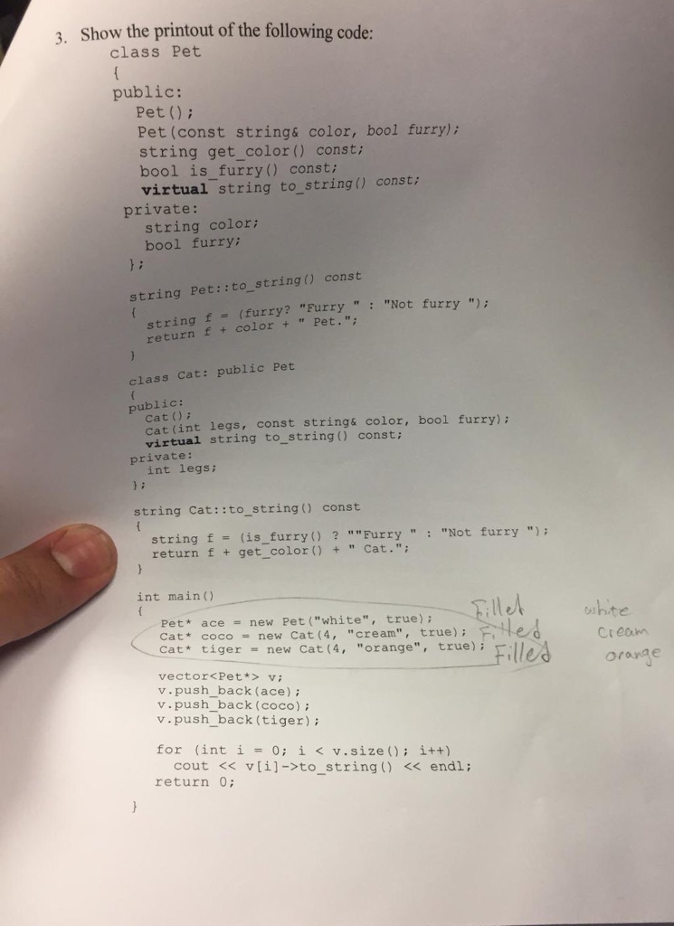 Solved: 3  Show The Printout Of The Following Code Class P