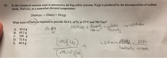 Chemistry archive july 05 2017 chegg 10 in the chemical reaction used in automotive air bag safety systems n2 altavistaventures Choice Image
