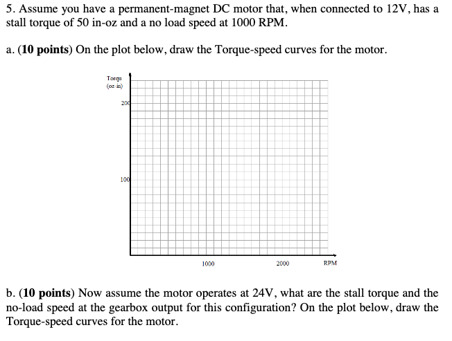 Assume you have a permanent-magnet DC motor that, when connected to ...