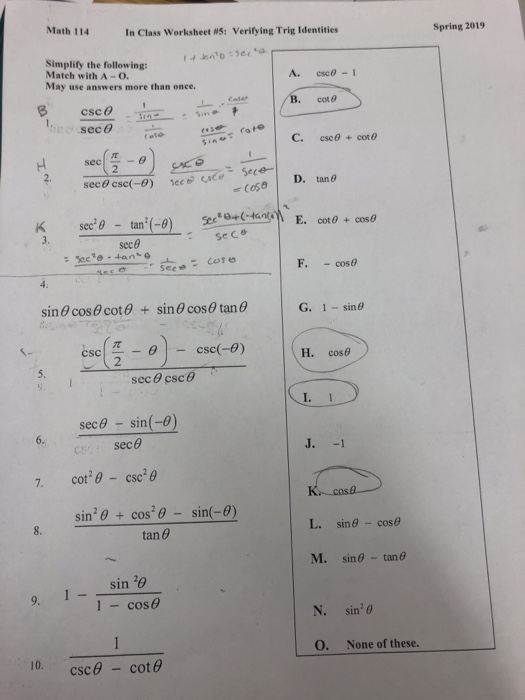 Solved: Math 114 In Class Worksheet WS: Verifying Trig Ide ...