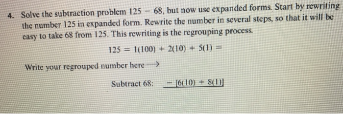 Solved Solve The Subtraction Problem 125 68 But Now Us