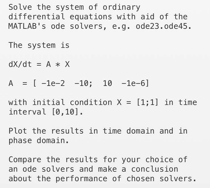 Solved: Solve The System Of Ordinary Differential Equation