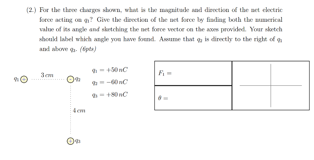 Solved 2 For The Three Charges Shown What Is The Magn