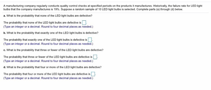 Solved: A Manufacturing Company Regularly Conducts Quality