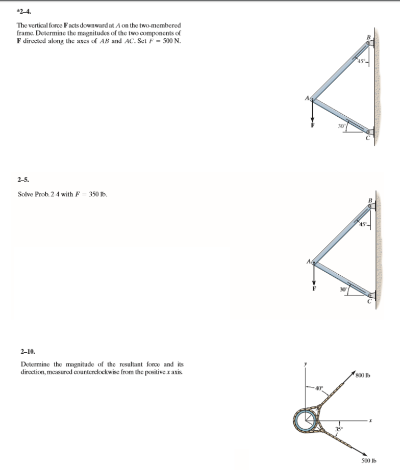 Solved: 2-4. The Vertical Force Facts Downward At A On The ...