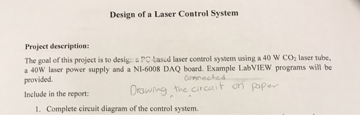 Solved: Design Of A Laser Control System Project Descripti