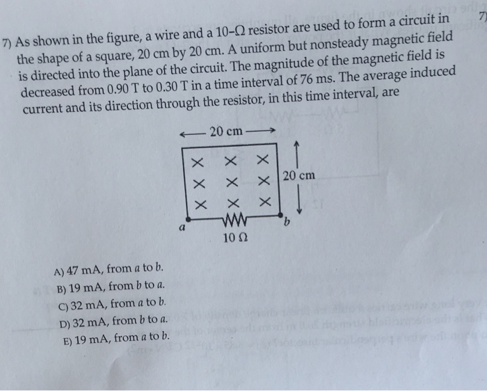 Solved: As Shown In The Figure, A Wire And A 10-Ohm Resist ...